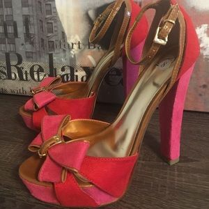 Hot pink and red platform sandals
